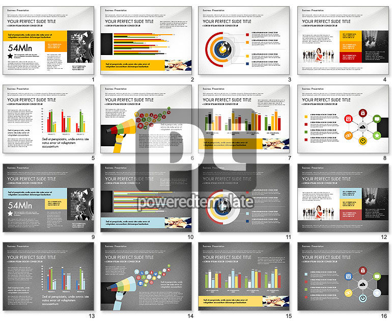 Professional Business Presentation with Data Driven Charts