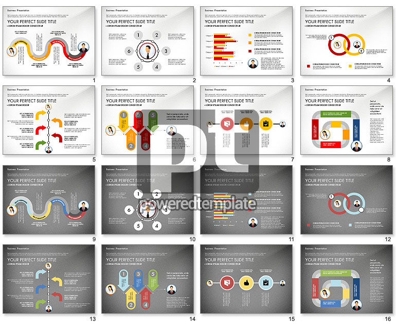 Business Presentation with Flat Designed Shapes