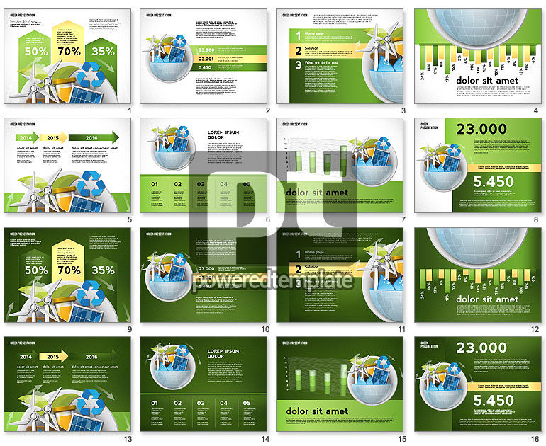 Green Presentation Template with Infographics