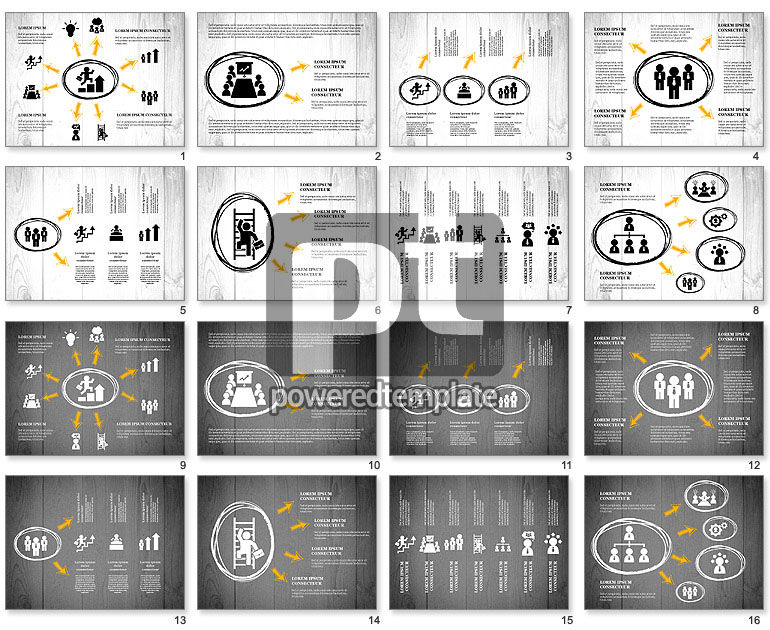 Process Presentation with Business Silhouette Shapes