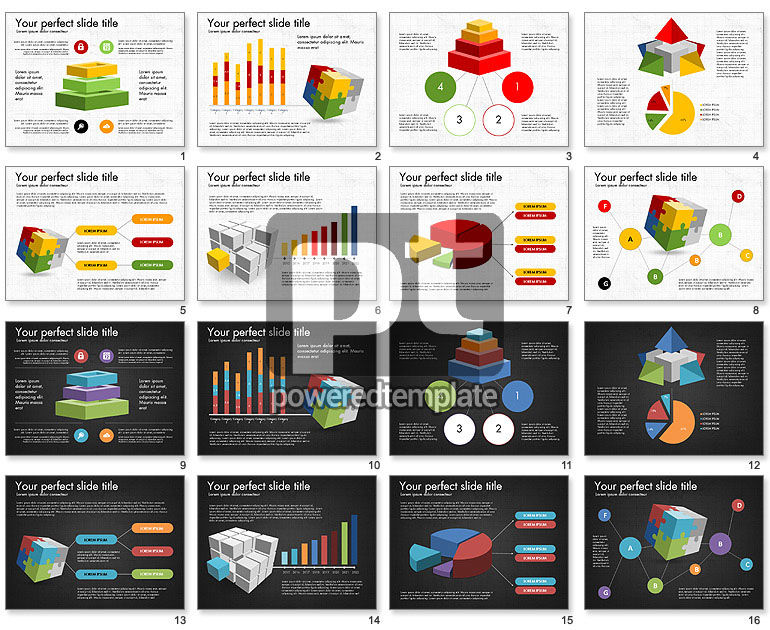 Presentation with Colorful 3D Shapes