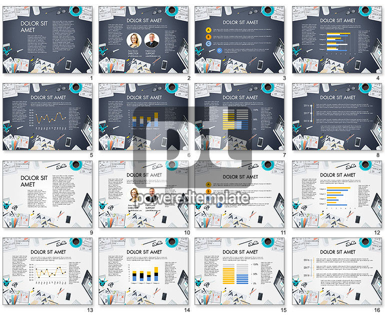Workplace, Top View Data Driven Presentation