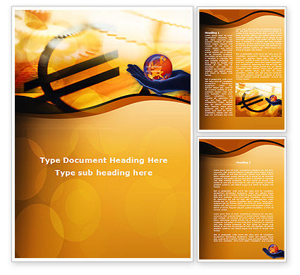Financial/Accounting: Yellow Colored Euro Currency Word Template #00081