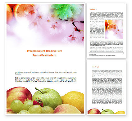 Food & Beverage: Fresh Fruits Of Summer Word Template #00689