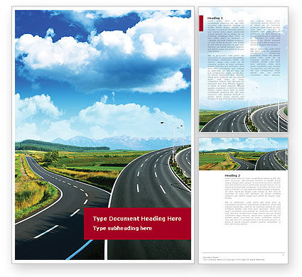 Construction: Highway Under Blue Sky Word Template #01358