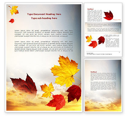 Nature & Environment: Falling Leaves In The Sunset Word Template #01454
