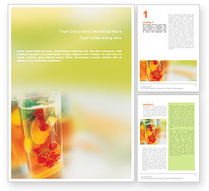 Food & Beverage: Fruit Cocktail Word Template #01547