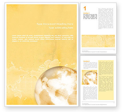 Global: Globe On The Pastel Background Word Template #01561