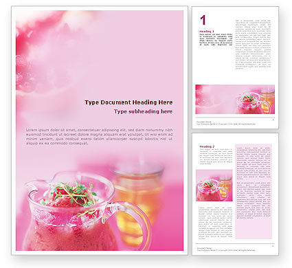 Raspberry Milk Shake Word Template, 01564, Food & Beverage — PoweredTemplate.com