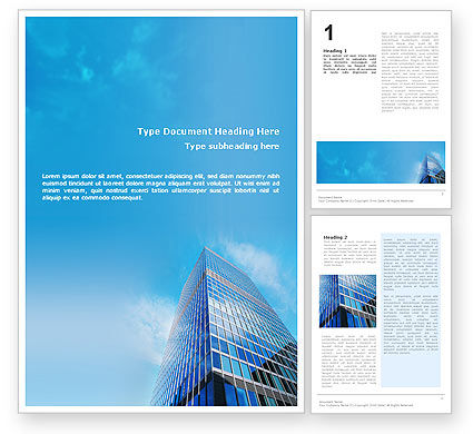 Shining Skyscraper Word Template, 01568, Business — PoweredTemplate.com