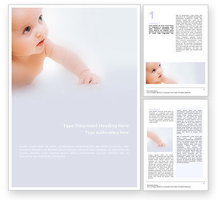 Baby On Light Blue Background Word Template, 01580, Education & Training — PoweredTemplate.com