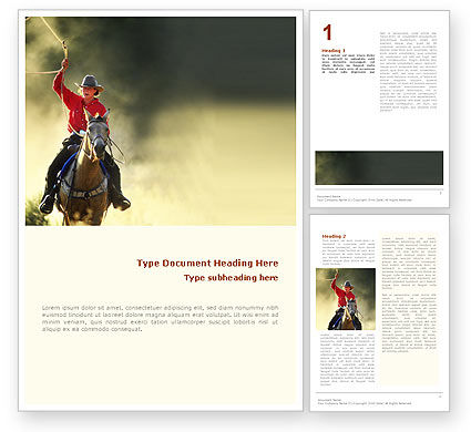 Cowboy Word Template, 01588, America — PoweredTemplate.com