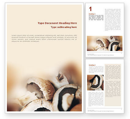 Mushrooms Word Template, 01601, Food & Beverage — PoweredTemplate.com