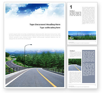 Highway In The Hill Country Word Template, 01612, Construction — PoweredTemplate.com