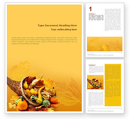 Thanksgiving Word Template, 01615, Holiday/Special Occasion — PoweredTemplate.com