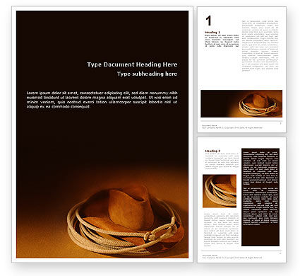 Cowboy Hat Word Template, 01616, America — PoweredTemplate.com