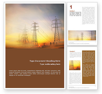 Power Line Word Template, 01638, Utilities/Industrial — PoweredTemplate.com