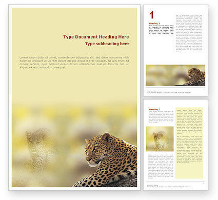 Leopard Word Template, 01640, Agriculture and Animals — PoweredTemplate.com