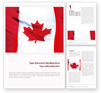 Canadian Flag Word Template, 01654, Flags/International — PoweredTemplate.com