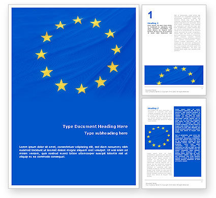 European Union Flag Word Template, 01657, Flags/International — PoweredTemplate.com