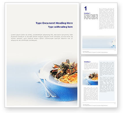 Food & Beverage: Sea Food Word Template #01661