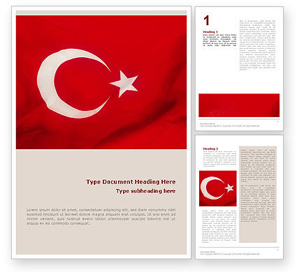 Flags/International: Turkish Flag Word Template #01671