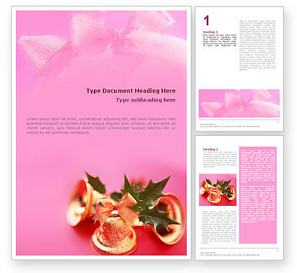 Holiday/Special Occasion: Templat Word Lonceng Natal Berwarna Pink #01679
