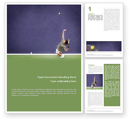 Tennis Word Template, 01697, Sports — PoweredTemplate.com