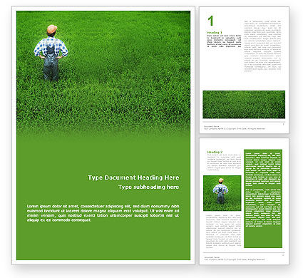 Farmer On The Green Field Word Template, 01698, Agriculture and Animals — PoweredTemplate.com