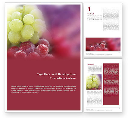 White And Red Grapes Word Template, 01705, Food & Beverage — PoweredTemplate.com