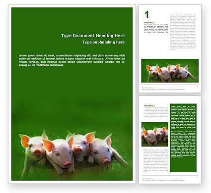 Pig Word Template, 01708, Agriculture and Animals — PoweredTemplate.com