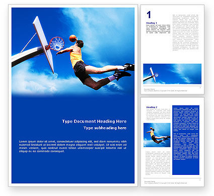 Sports: Flying Basketballer Word Template #01713