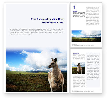 Kangaroo Word Template, 01717, Nature & Environment — PoweredTemplate.com
