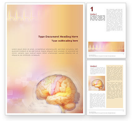 Medical: Brain In Pink Colors Word Template #01721