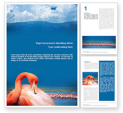 Flamingo Word Template, 01725, Agriculture and Animals — PoweredTemplate.com