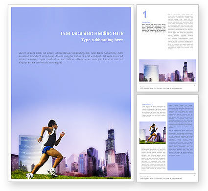 Sports: City Jogging Word Template #01740