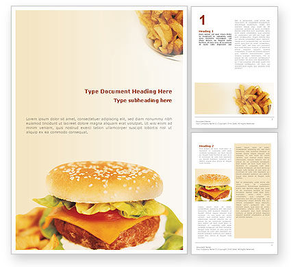 Food & Beverage: Fast Food Word Template #01741
