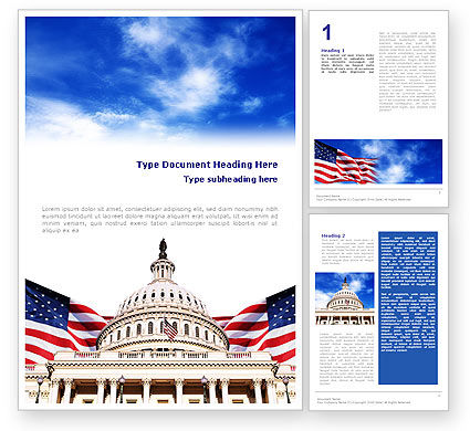 United States Capitol Building Word Template, 01766, Flags/International — PoweredTemplate.com