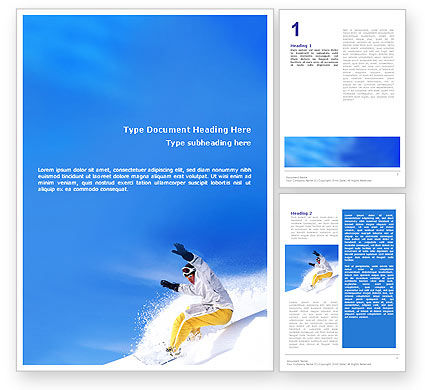 Sports: Snowboarding In Deep Snow Word Template #01771