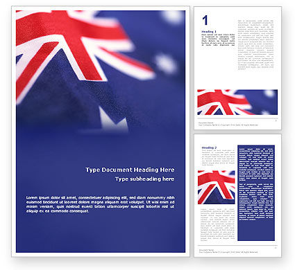 Flags/International: Australian Flag Word Template #01774