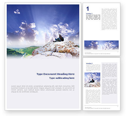 Nature & Environment: Hiking On The Top Of The Mountain Word Template #01779