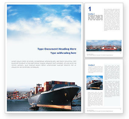 Cars/Transportation: Sea Shipping Word Template #01782