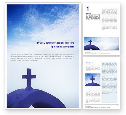 Blue Cross Word Template, 01804, Religious/Spiritual — PoweredTemplate.com