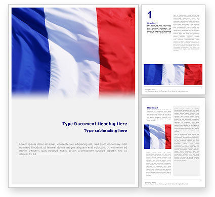 French Flag Word Template, 01805, Flags/International — PoweredTemplate.com