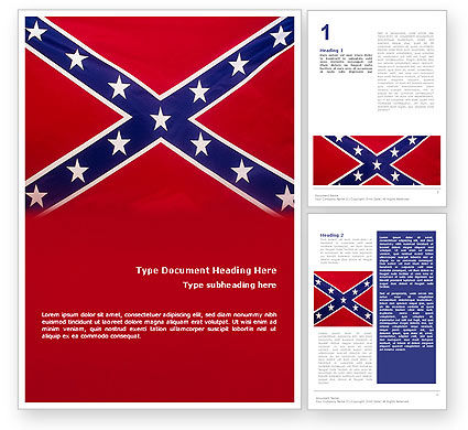 The Battle Flag of the Confederacy Word Template, 01814, Flags/International — PoweredTemplate.com