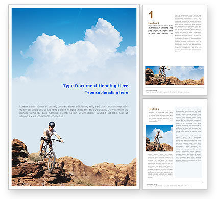 Sports: Mountain Biking In Rocks Word Template #01849