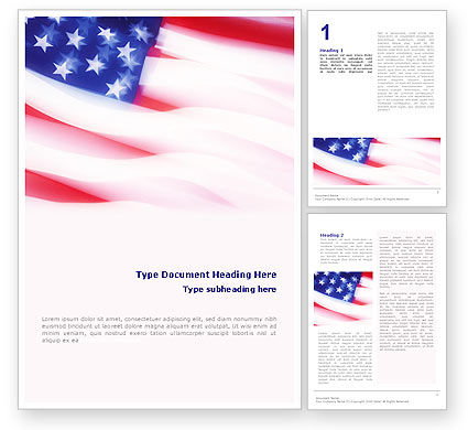 Flags/International: Flag of the United States of America Word Template #01851