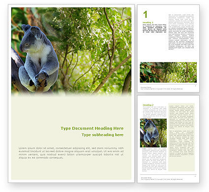 Agriculture and Animals: Koala Gratis Word Template #01867