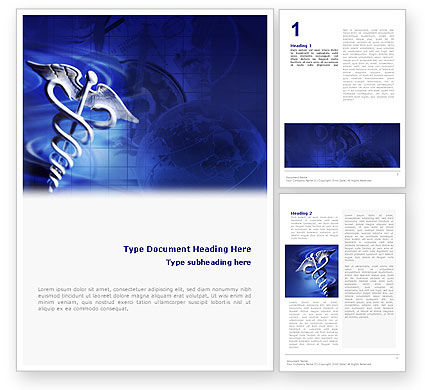 Caduceus In Deep Blue Colors Word Template 01881