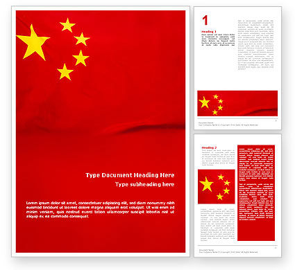 Chinese Flag Word Template, 01887, Flags/International — PoweredTemplate.com